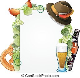 Oktoberfest background - Beer, pretzel, sausage and...