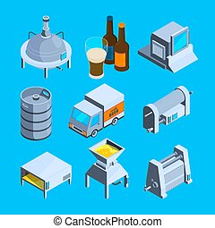 Beer production isometric. Vector tools of brewery