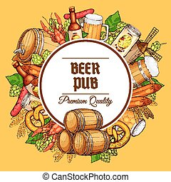 Beer pub barrels, mugs and snacks vector poster