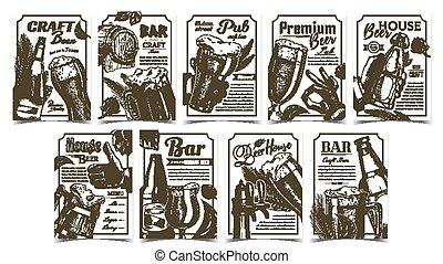 Beer Pub Collection Advertising Posters Set Vector