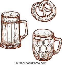 Beer pub mugs and pretzel snack vector sketch