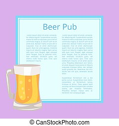 Beer Pub Poster with Text Depicting Full Glass Mug - Beer...