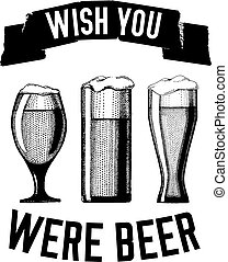 Beer quote Hand drawn vector image with quote about beer,...