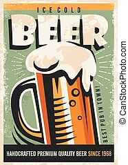 Beer retro poster design with foamy beer glass on old paper...