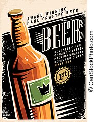 Beer retro poster layout with beer bottle and creative...