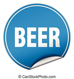 beer round blue sticker isolated on white