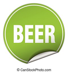beer round green sticker isolated on white
