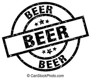 beer round grunge black stamp
