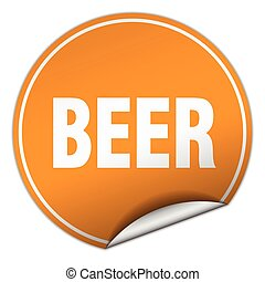 beer round orange sticker isolated on white