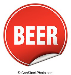 beer round red sticker isolated on white