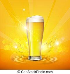 beer., schiuma, casato, vector., vetro