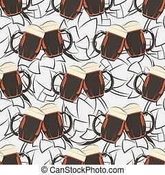 Beer seamless pattern with beer mugs and hops silhouetes