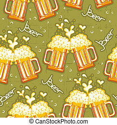 beer seamless pattern.Vector glasses of beer background for...