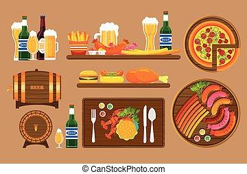 Beer set 1 - Stock vector illustration set beers, beer mugs,...