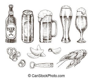 Beer Set and Various Snack Vector Illustration