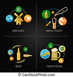 beer set flat icons