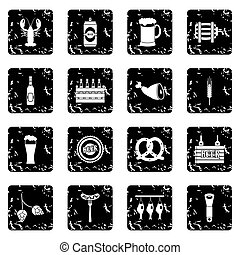 Beer set icons, grunge style