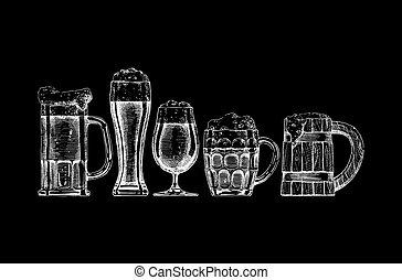 Beer set on black background.