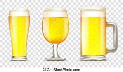 beer., set, vetro