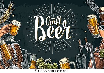 Horizontal poster Beer set with tap, glass, bottle, hop branch with leaf, ear of barley, barrel, tanks from brewery factory. Craft Beer lettering with rays. Vintage vector color engraving illustration