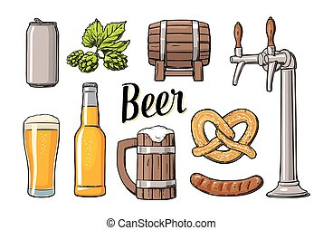Beer set with tap, class, can, bottle, barrel, sausage, pretzel and hop.