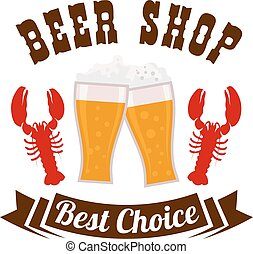 Beer shop emblem with drink and snacks