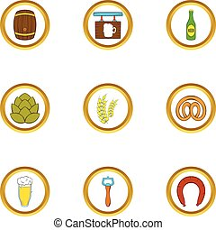 Beer shop icons set, cartoon style
