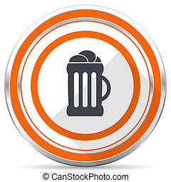 Beer silver metallic chrome round web icon on white background with shadow
