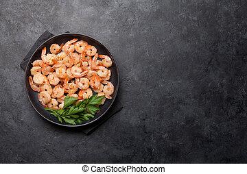 Beer snacks. Grilled shrimps