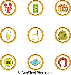 Beer snacks icons set, cartoon style