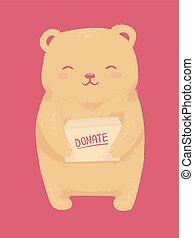 beer, speelbal, besturen, doneren, illustratie
