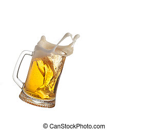 Beer splash in glass isolated on white background