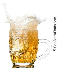 Beer splash in glasses isolated on white