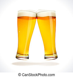 Beer splashing, two glasses - Vector Beer splashing, two...