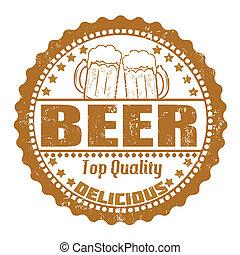 Beer stamp - Beer grunge rubber stamp on white, vector...