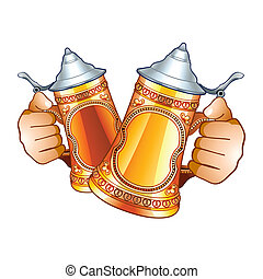 Beer steins - Human hands with decorated beer steins...