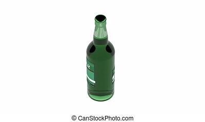 Beer bottle spin on white background