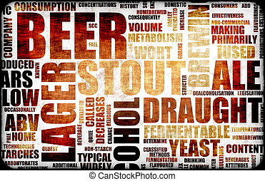 Beer Related Text Design Element as Background