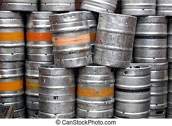 beer - Range of stacked beer casks of kegs
