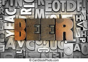 Beer - The word BEER written in vintage letterpress type