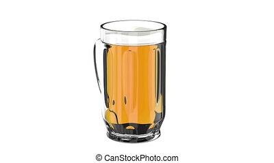 Beer mug rotates on a white background