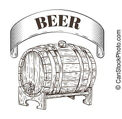 Beer Storage Wooden Barrel Vector Illustration