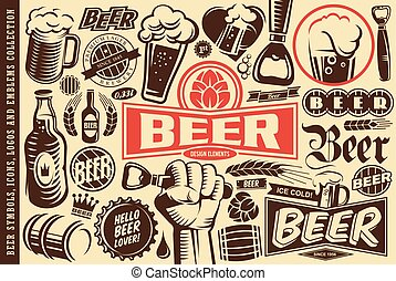 Beer symbols, emblems, logos, icons and design elements collection
