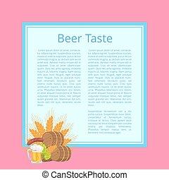 Beer Taste Poster with Barrels, Food and Drink - Beer taste...