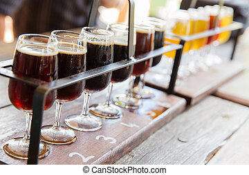 Beer tasting - Tasting of many different types of beers.