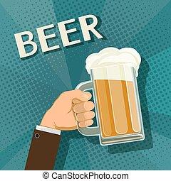 beer., tazza, prese, mano umana