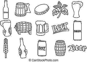 beer thin line icons set (hop branch, wooden barrel, hand holding glass, can, bottle cap, mug, bottle)