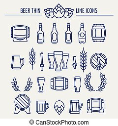 Beer thin line icons set