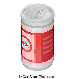 Beer tin can icon, isometric style