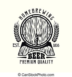 Beer vector emblem with barrel isolated on white